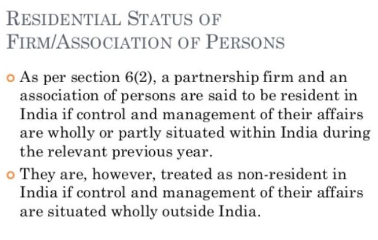 Residential Status of Firm or Association of Person or Company1